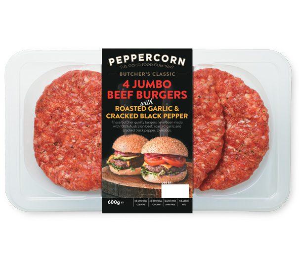 PFC_Butchers_600g_Jumbo-Garlic-Pepper-Burgers_605x530px